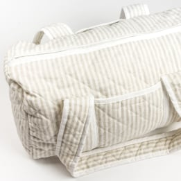 Weekend Changing Bag - Linen Stripe Beige