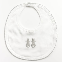 Embroidered Bunny Bib - Grey