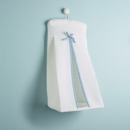 Nappy Stacker - White Waffle Blue Trim