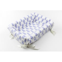 Layette Basket - Rabbit Trellis Blue