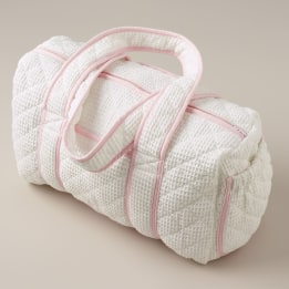 Weekend Changing Bag - White Waffle Pink Trim