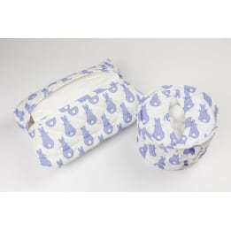 Cotton Wool Holder or Tissue Cover - Rabbit Trellis Blue