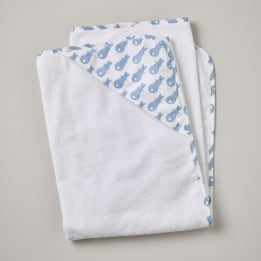 Hooded Towel - Rabbit Trellis Blue