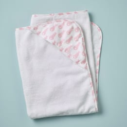 Hooded Towel - Rabbit Trellis Pink