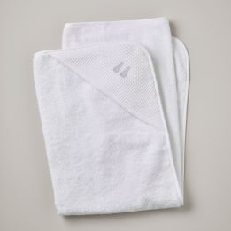 Hooded Towel - Embroidered Bunny Grey