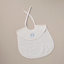Bib - Embroidered Bunny Blue