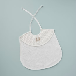 Bib - Embroidered Bunny Beige