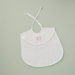 Bib - Embroidered Bunny Pink