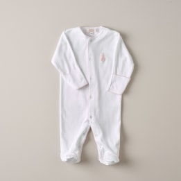 Embroidered Bunny Babygrow - Pink