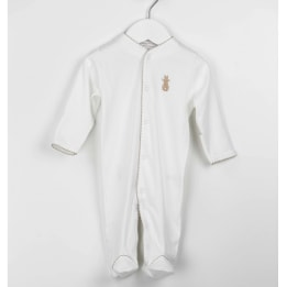 Embroidered Bunny Babygrow - Beige