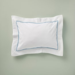 Pillowcase - Waffle Blue Trim