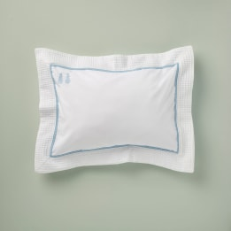 Pillowcase - Embroidered Bunny Blue