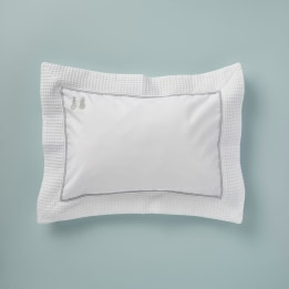 Pillowcase - Embroidered Bunny Grey