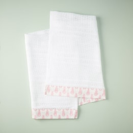 Cellular Edged Cot Blanket - Rabbit Trellis Pink