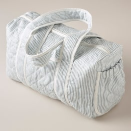 Weekend Changing Bag - Linen Stripe Blue