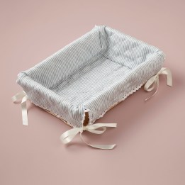 Layette Basket - Linen Stripe Blue
