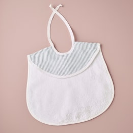Bib - Linen Stripe Blue