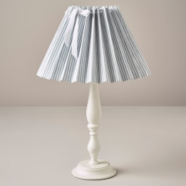 Pleated Lampshade - Linen Stripe Blue