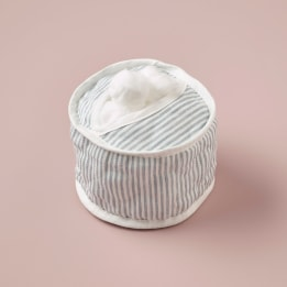 Cotton Wool Holder - Linen Stripe Blue