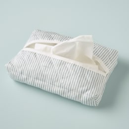 Tissue Cover - Linen Stripe Blue