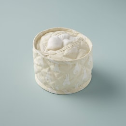 Cotton Wool Holder - Rabbit Trellis Cream