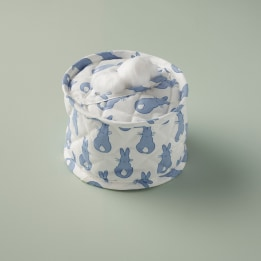 Cotton Wool Holder - Rabbit Trellis Blue
