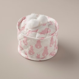 Cotton Wool Holder - Rabbit Trellis Pink