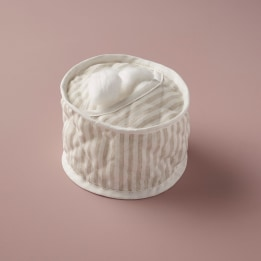 Cotton Wool Holder - Linen Stripe Beige