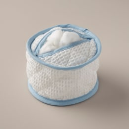 Cotton Wool Holder - White Waffle Blue Trim