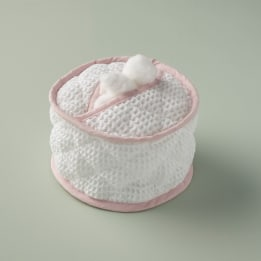 Cotton Wool Holder - White Waffle Pink Trim