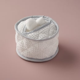 Cotton Wool Holder - White Waffle Grey Trim