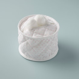 Cotton Wool Holder - Pink Spot Voile