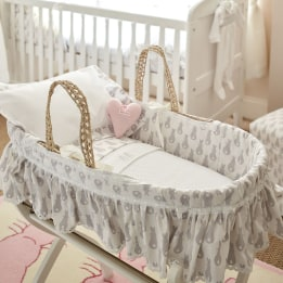 Moses Basket Set- Rabbit Trellis Grey