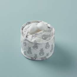 Cotton Wool Holder - Rabbit Trellis Grey