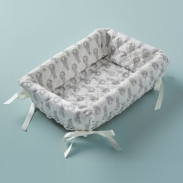 Layette Basket - Rabbit Trellis Grey