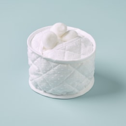 Cotton Wool Holder - White Spot Voile