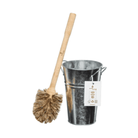 PLASTIC FREE TOILET BRUSH & SILVER HOLDER