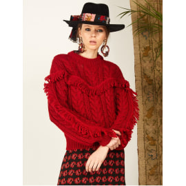 ETTA Cable Knit Jumper - Red