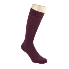 Solid Ribbed Cotton & Cashmere Socks - Burgundy