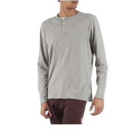 HENLEY Long Sleeve T-Shirt - Grey Marl