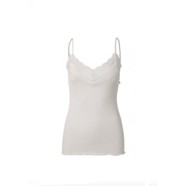 BENITA Silk Lace Strap Top - Soft Powder