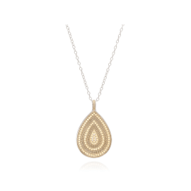 "BEADED TEARDROP PENDANT Necklace 30"" - Gold"