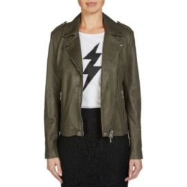 TYLER LEATHER JACKET - Khaki