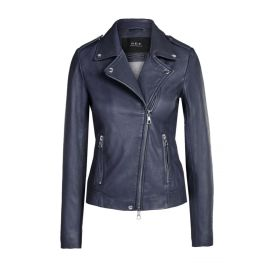 TYLER LEATHER JACKET - Dark Blue