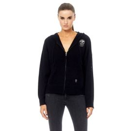 JESS Cashmere Hoodie - Black/Silver Skull