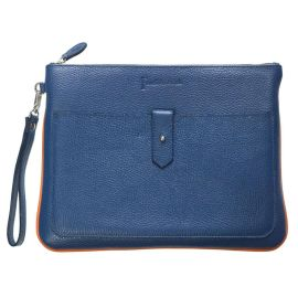 PADDED LEATHER TABLET SLEEVE - Blue with Orange Trim