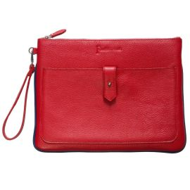 PADDED LEATHER TABLET SLEEVE - Red with Blue Trim