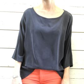 FLORIDE Silk Top - Navy Blue