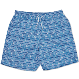 Men's Swim Shorts - Swimming Fish Blue
