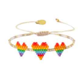 Rainbow Beaded Bracelet - Triple Heartsy